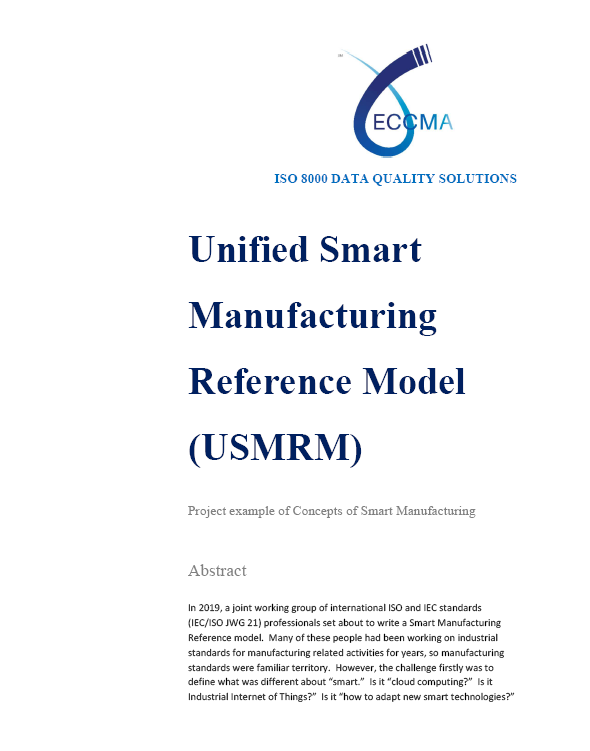 Unified Smart Manufacturing Reference Model (USMRM) - Project example of Concepts of Smart Manufacturing